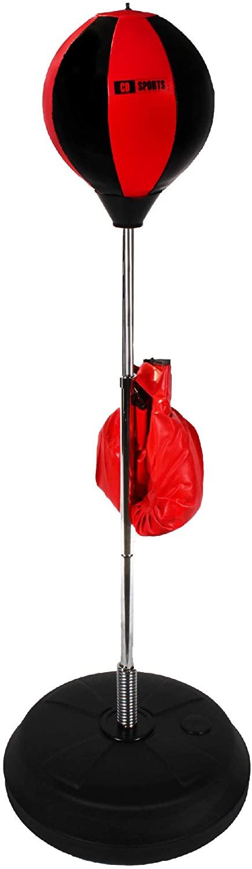 ALLESOK Saco de Boxeo para Niños, Color Rojo y Negro, Ajustable hasta 110cm de Altura