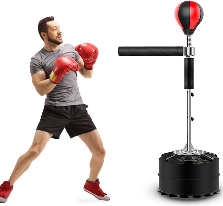 yummyfood Punching Ball Saco De Boxeo De Pie Bola De Velocidad con Barra Reflectante De 360 ° Altura Ajustable para Entrenamiento De Artes Marciales Mixtas, Alivio del Estrés Y Fitness 145-165cm