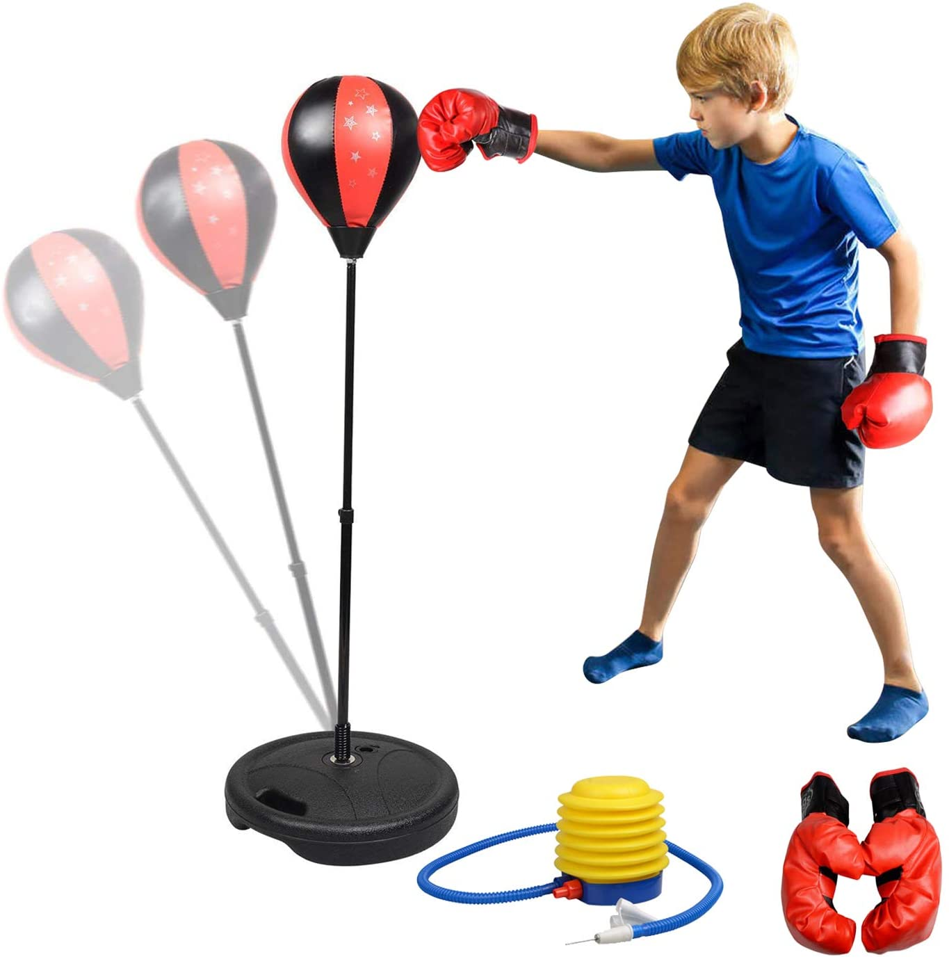 Set de Boxeo Infantil, Punching Ball, Práctica de Boxeo, Ajuste de Altura 70-105cm Bolsas de Boxeo para niños con Guantes, Color Rojo y Negro
